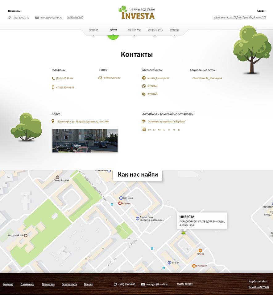 Страница Контакты. Разработка корпоративного сайта Инвесты